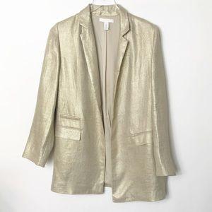 Chico's   NWOT Oversized Gold Linen Blazer Jacket